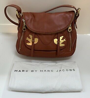 1c51ba370665 Marc by Marc Jacobs Petal to the Metal Bird Saddle Brown Leather Crossbody  Purse