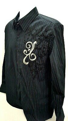 Bruno New York Mens Button Down Embroidery Long Sleeve Blue Pinstripe Size L