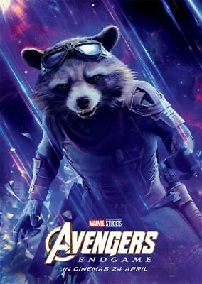 Avengers Endgame Movie 2019 Edition Characters Rocket Poster