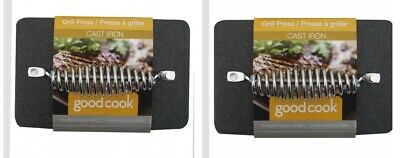 """2 Packs Of Good Cook Cast Iron Grill Press 5"""" x 8"""" Durable Heavy Duty 06087"""