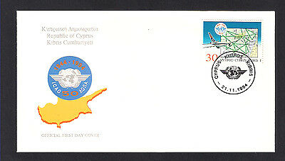 1994 50th ANNIVERSARY CIVIL AVIATION ICAO CYPRUS AIRWAYS AIRPLANE MAP FDC