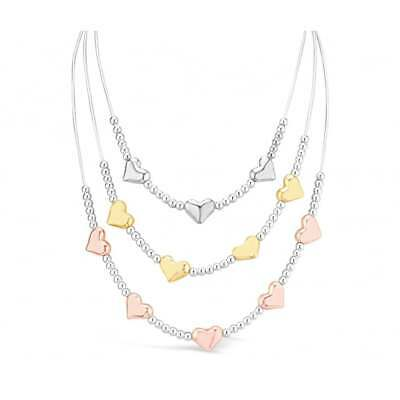 Tri-Colour, Tri Tier Silver, Gold & Rose Gold Plated Heart Necklace.