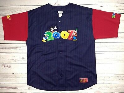Mens Retro Official Walt Disney World 2007 Baseball Jersey Top Size Large XL