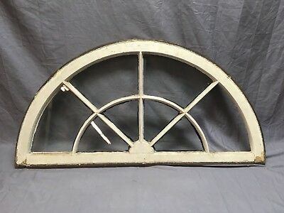 Antique 8 Lite Arched Dome Top Half Round Window Sash Sunburst Old Vtg 44-19E