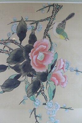 Vintage Japanese Hand Painted Bird Flowers Silk Painting, Framed, Signed