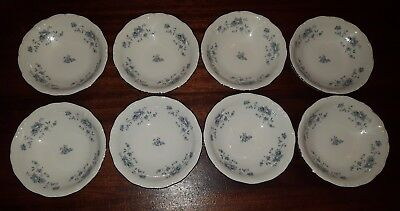 "Vintage JOHANN HAVILAND BLUE GARLAND 5 1/4"" Dessert Dishes Bowls Set of 8"