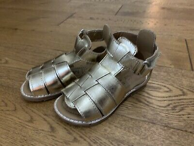Bnwt M&S Infant Girls Gold Leather Strap Gladiator Sandals Size 5 Eu22