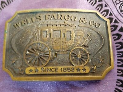 WELLS FARGO & CO. Since 1852 SOLID BRASS BELT BUCKLE VINTAGE 1973