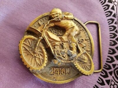 *DIRT BIKE MOTOCROSS RIDER* BELT BUCKLE Indiana Metal Craft Brass Vintage 1979