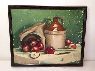VTG Country Style STILL LIFE OIL PAINTING Signed Folk Art APPLES JUG Shabby Chic