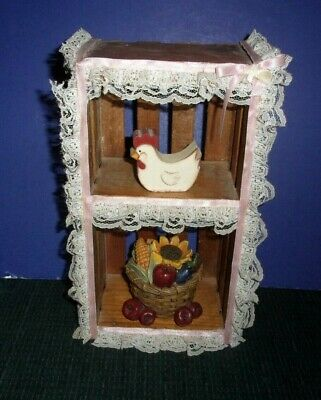 Small Hand Crafted Decorative Wood Crate with Lace