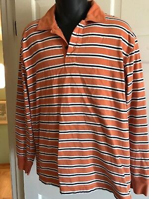 ab3481e1a25 J CREW MULTICOLORED Stripe Men's Long Sleeve Polo Rugby Shirt Sz L ...