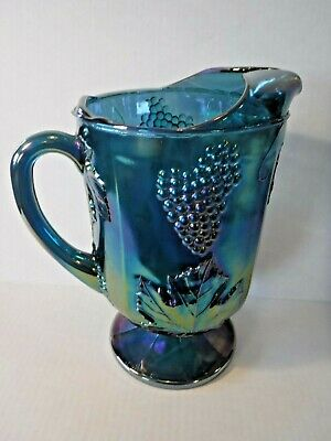 VTG~Indiana Glass~Iridescent Peacock~Carnival~Harvest Grape~Footed~64 oz~Pitcher
