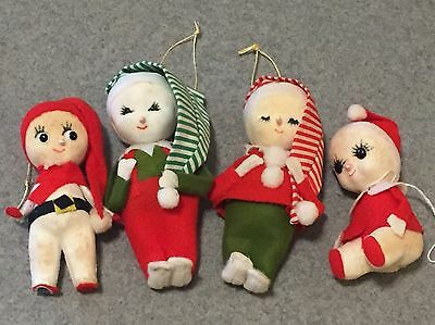 Vintage Lot of 4 Christmas Ornaments; Elves, Pixies, Made in Japan 1940's-50's