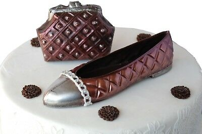 Dark Chocolate Shoes & Bag Handmade Gift or Cake Topper Decoration.