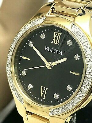 Bulova Women's 98R222 Diamond Accent Gold Tone Watch 28mm Quartz BROKEN CLASP