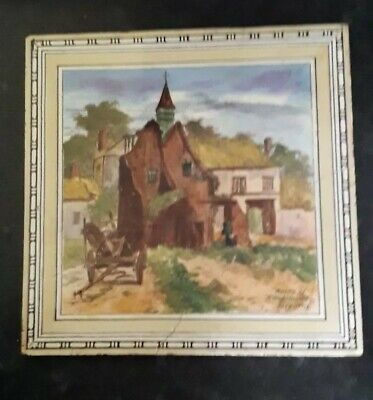 Antique victorian minton tile Ruins of Hougomnt Belgium