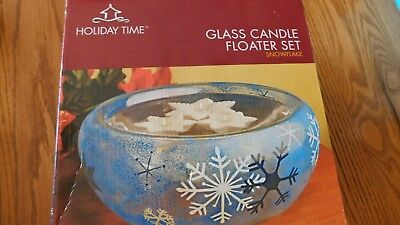 Holiday Time Candela di Vetro Floater Set Blu Bianco Stella Del Fiocco Neve