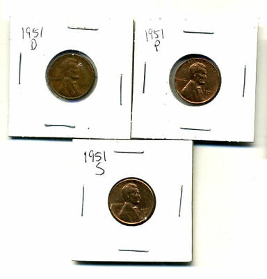 1951 P,d,s Wheat Pennies Lincoln Cents Circulated 2X2 Flips 3 Coin Pds Set#4097