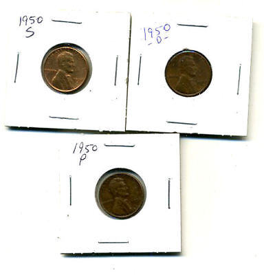1950 P,d,s Wheat Pennies Lincoln Cents Circulated 2X2 Flips 3 Coin Pds Set#4491