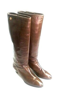 5a72242135c Cuero Legitimo Boots Womens Brown Leather Knee High Made in Spain Vtg Sz 8 M