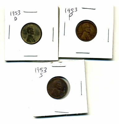 1953 P,d,s Wheat Pennies Lincoln Cents Circulated 2X2 Flips 3 Coin Pds Set#3686