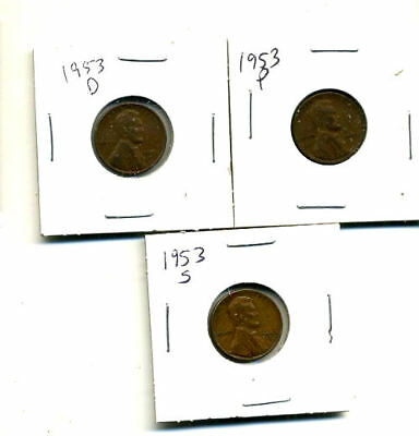 1953 P,d,s Wheat Pennies Lincoln Cents Circulated 2X2 Flips 3 Coin Pds Set#3761