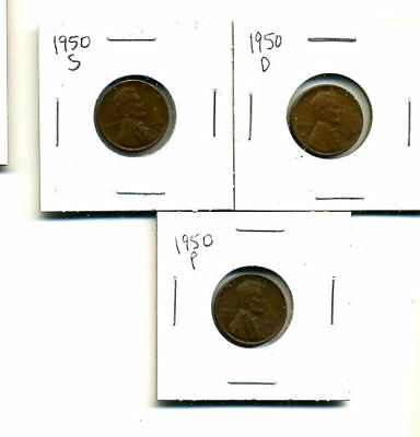1950 P,d,s Wheat Pennies Lincoln Cents Circulated 2X2 Flips 3 Coin Pds Set#4475