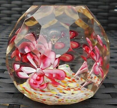 Antique Bohemian Trumpet Flower Pot Multi Faceted Glass Paperweight