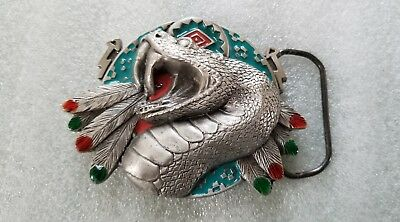 Vintage 1994 Native Indian Rattlesnake with Feathers Belt Buckle GAP #4183
