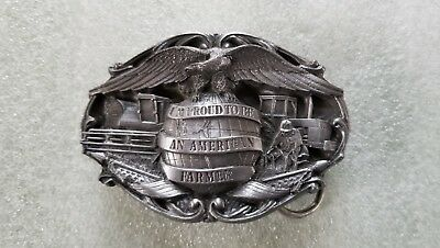 "Vintage 1984 ""Proud To Be An American Farmer"" Belt Buckle Bergamot S-42 Pewter"
