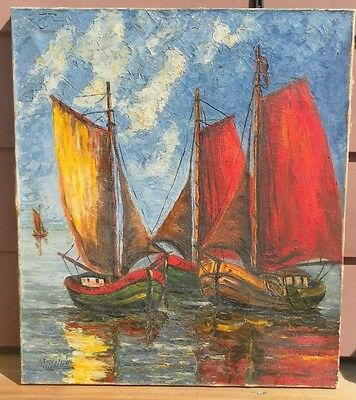 Heinrich Pechstein (1902-1965) German Original Oil Painting Seascape Signed 1946