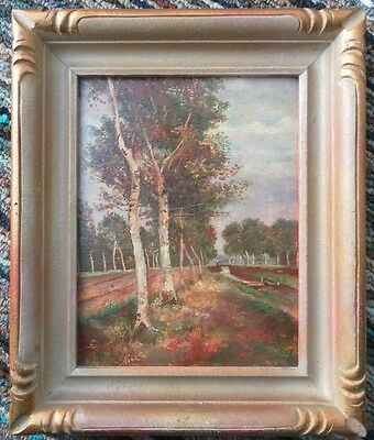 ANTIQUE LATE 19th CENTURY ORIGINAL OIL PAINTING CANADIAN LANDSCAPE COUNTRY ROAD