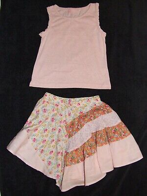 Girls Next pink floral skirt and matching top age 5 years bundle