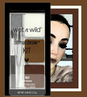 Wet N Wild Ultimate Brow Kit #963 Ash Brown with tweezers and a slide out mirror