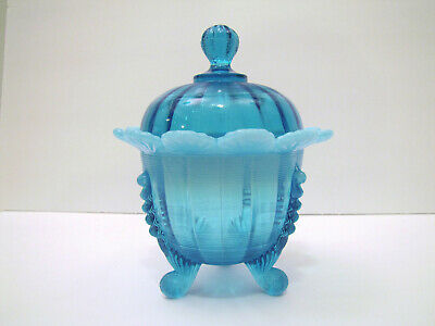 Eapg Northwood Jackson Blue Opalescent Sugar Bowl With Rare Lid
