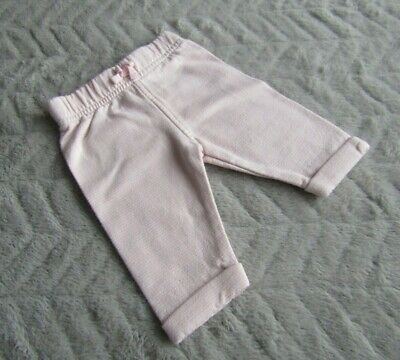Baby Girls 100% Cotton White & Pink Striped Joggers/Jogging Pants (First Size)