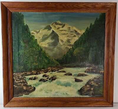"Old Oil Painting on Canvas Mountain Landscape with River Framed Art (27"" x 29"")"