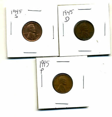 1945 P,d,s Wheat Pennies Lincoln Cents Circulated 2X2 Flips 3 Coin Pds Set#3439