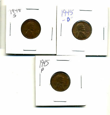1945 P,d,s Wheat Pennies Lincoln Cents Circulated 2X2 Flips 3 Coin Pds Set#3451