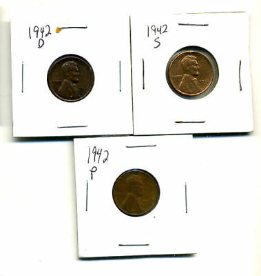 1942 P,d,s Wheat Pennies Lincoln Cents Circulated 2X2 Flips 3 Coin Pds Set#3165