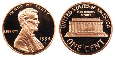 1994 S GEM BU PROOF Lincoln Memorial BRILLIANT UNCIRCULATED PENNY US COIN PF