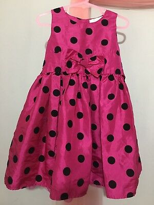 Cute Baby Girls Pink Shimmery Spotted Bow  Party Dress 18-23m🎀