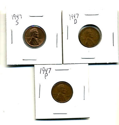 1947 P,d,s Wheat Pennies Lincoln Cents Circulated 2X2 Flips 3 Coin Pds Set#1675