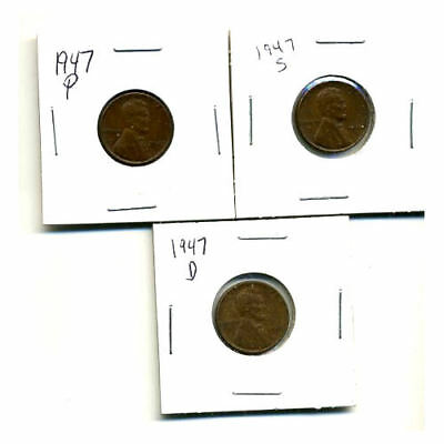 1947 P,d,s Wheat Pennies Lincoln Cents Circulated 2X2 Flips 3 Coin Pds Set#3107