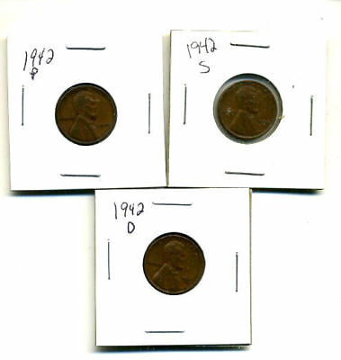 1942 P,d,s Wheat Pennies Lincoln Cents Circulated 2X2 Flips 3 Coin Pds Set#3202