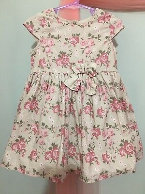Lovely Baby Girls Pale Brown Floral Rose Summer Dress 18-23m🌸