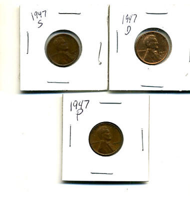 1947 P,d,s Wheat Pennies Lincoln Cents Circulated 2X2 Flips 3 Coin Pds Set#1673