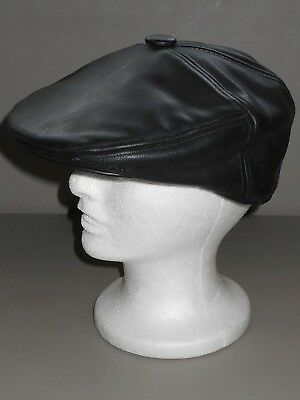 News Boy Classic Cap Mens Head Wear Black Leather Flat Cap Grand Dad Hat Medium