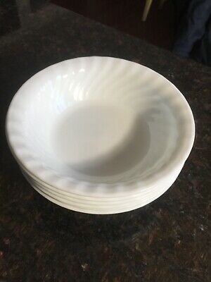 "6 Corelle Enhancements 18-oz Cereal / Salad Bowls 7-1/4"" (White Swirl) New"